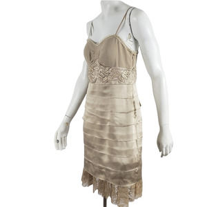 Sue Wong Strappy Dress Cocktail Formal Tiered Ruffle Lace Hem Satin Gold